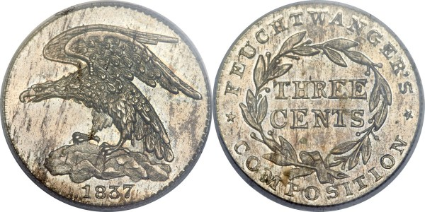1837 3C Feuchtwanger Three Cent, Eagle MS63 PCGS. CAC. Low-118, HT-263, R.5