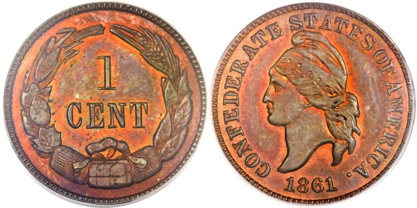 1861 Confederate States of America Cent PR65 Red and Brown PCGS. CAC. Copper 1874 Haseltine Restrike, Breen-8008, R.5
