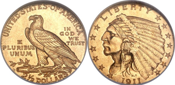 1911-D $2 1/2 MS65 NGC