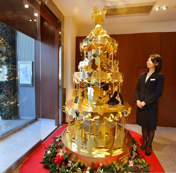 Ginza Tanaka's Gold Christmas Tree with Disney Motif