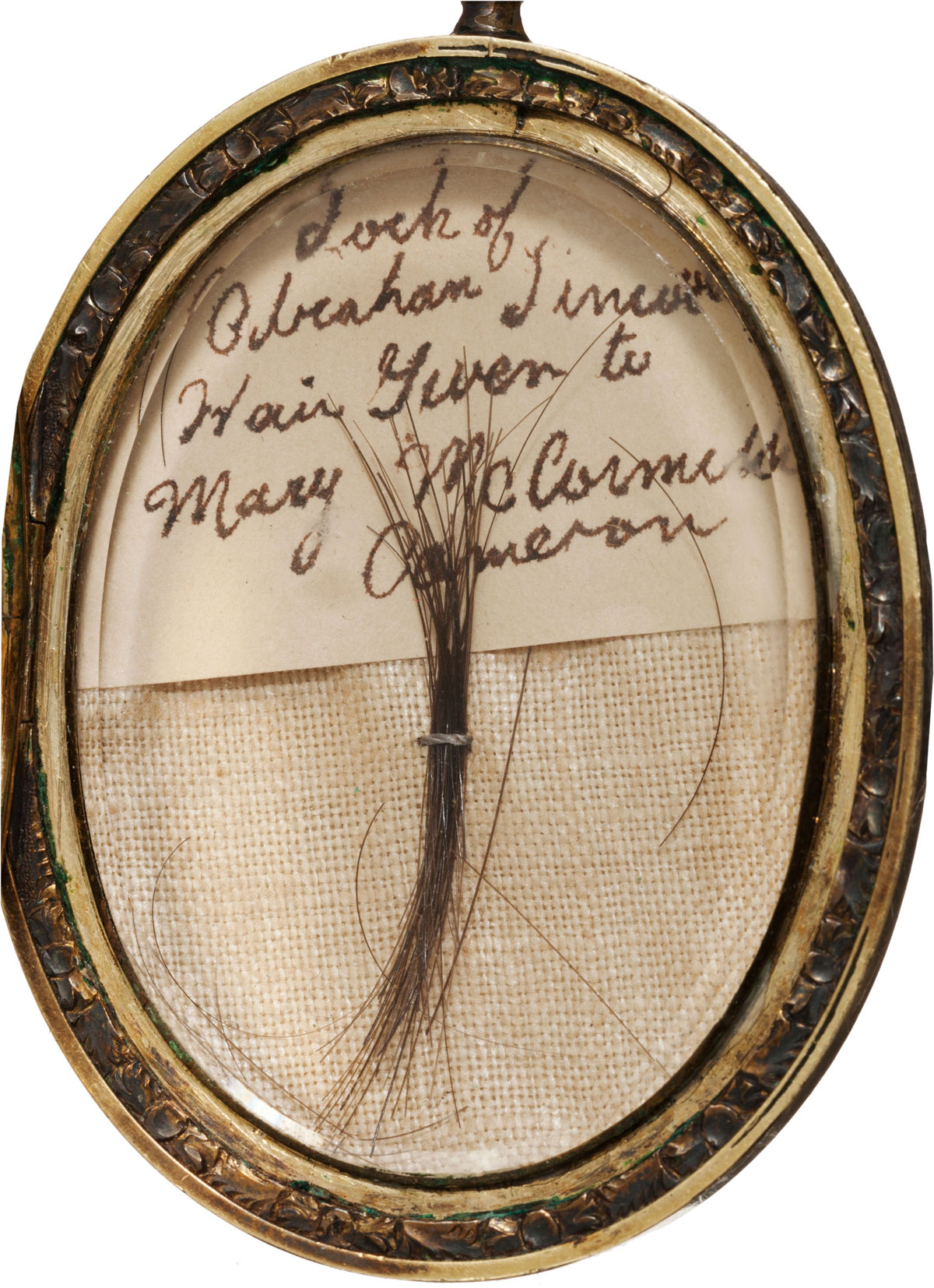 Lock of Abraham Lincoln's Hair in Gold Locket