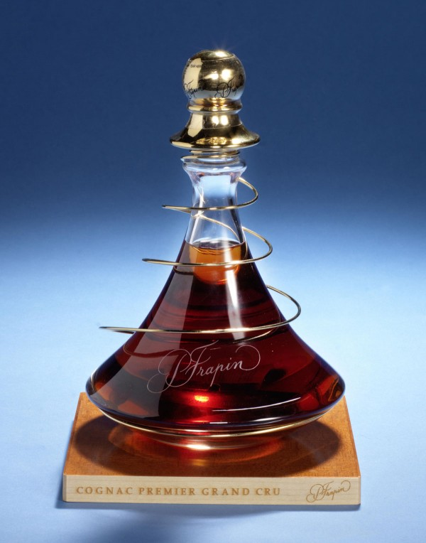 Pierre Frapin Cuvee 1888 Grand Cru Cognac bottled in a a beautiful limited-edition crystal glass decanter, adorned by a special 24k gold spiral and stopper