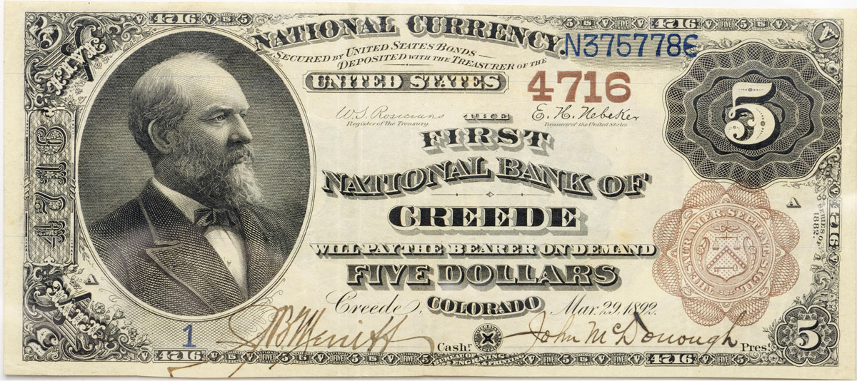 "1882 $5 ""Brown Back"" National Bank Note, Creede Colorado"