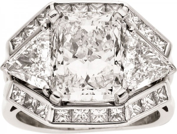 8.24 carat total weight diamond platinum ring set