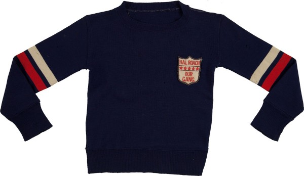 "wool sweater worn by Switzer when he and the rest of the ""Gang"" made public appearances during their heyday in the 1930s"