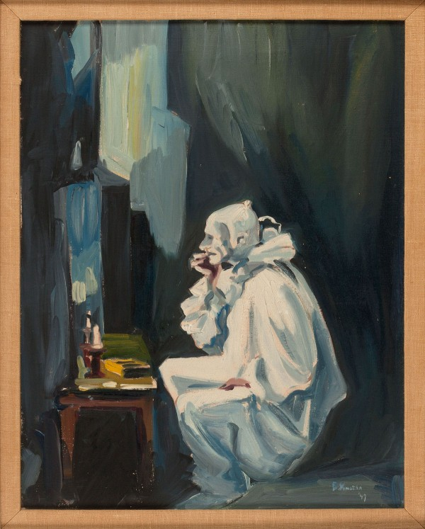 1947 oil painting by Frank Sinatra, depicting a sad clown staring into his dressing table mirror