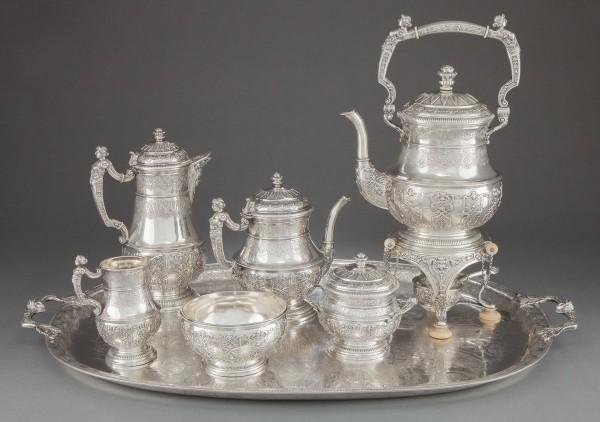 A SEVEN PIECE KURZ & CO. HANAU SILVER TEA AND COFFEE SERVICE AND TRAY