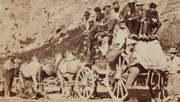 Albumen-Stereoview-Salt-Lake-Stagecoach-Leaving-Ophir-1
