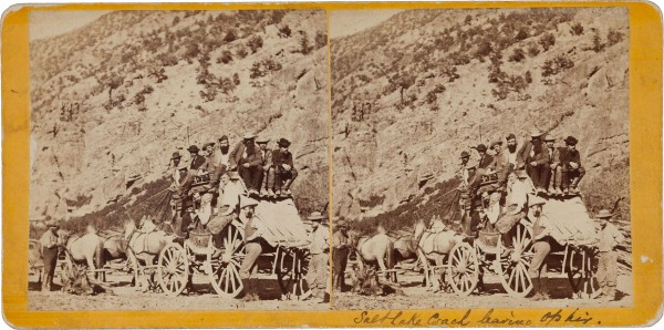 1870s albumen Stereoview card of a Salt Lake Stagecoach leaving Ohir from Charles R. Savage, expected to bring $2,000+
