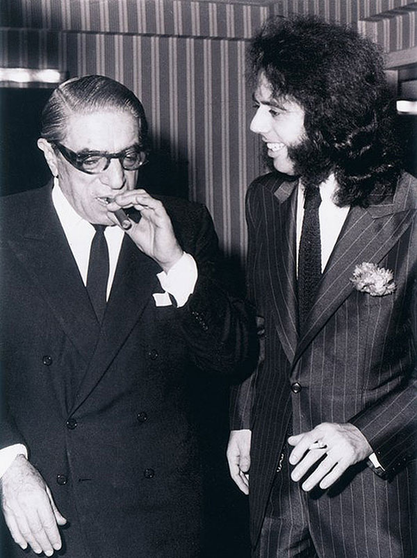 Aristotle Onassis, Greek shipping magnate, and popular Greek singer, Stamatis Kokotas, a.k.a Greek Elvis