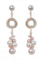 Trinity pearls pendant earrings