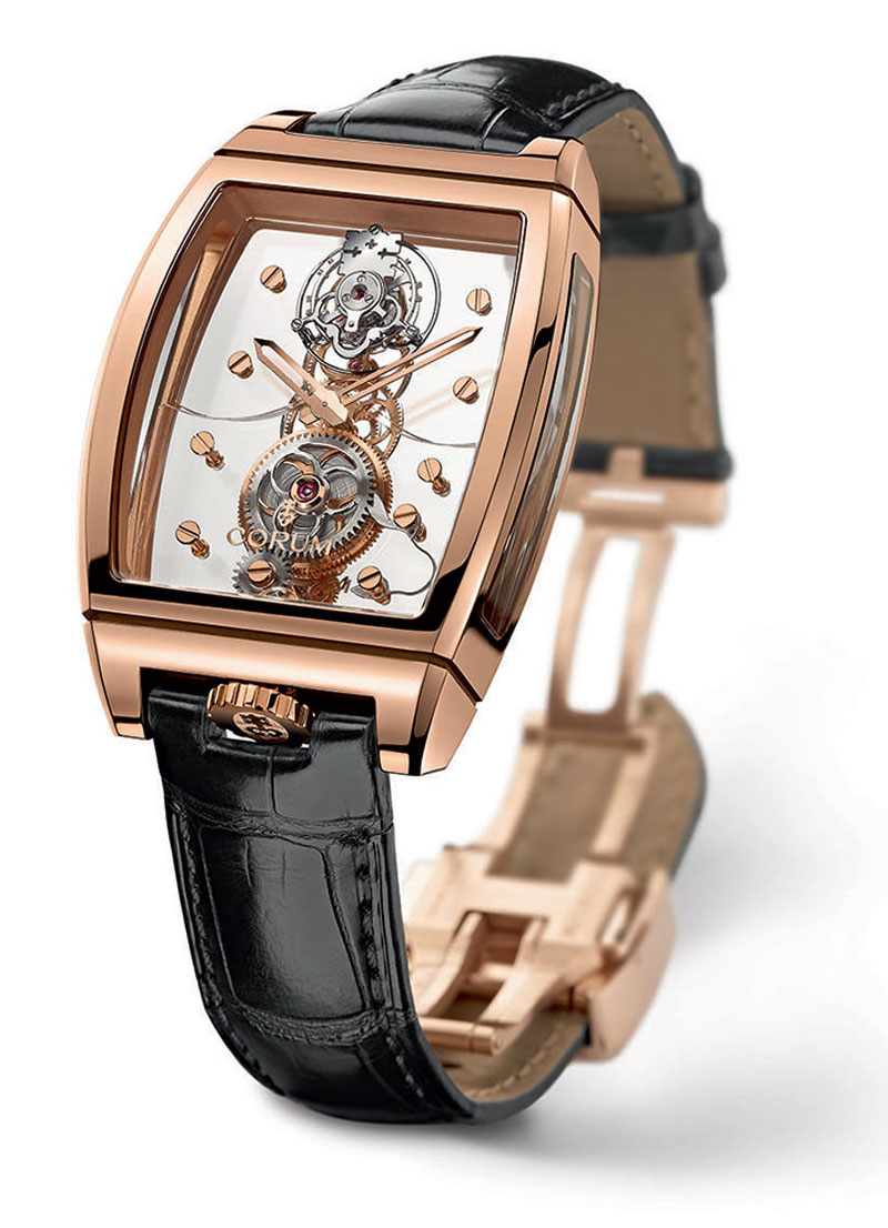 Corum golden bridge tourbillon panoramique watch inspired by delicate perfection of snowflakes for Corum watches