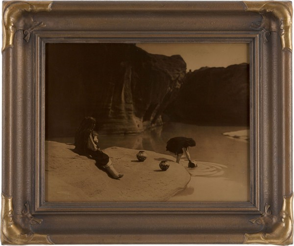 "Edward S. Curtis, Photographer: ""At the Old Well of Acoma"" Vintage Goldtone in Original Frame expected to bring $12,000+"