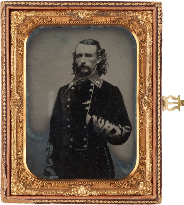 Large half plate ambrotype of Custer taken from life, estimated to bring $30,000+