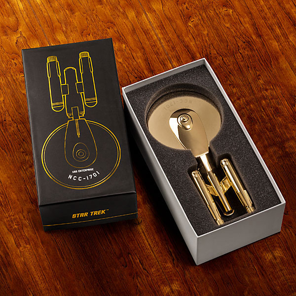 Golden Limited Edition Star Trek Enterprise NCC-1701 Pizza Cutter for Trekkers
