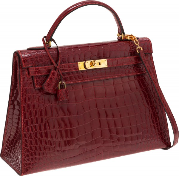Hermes 32cm Shiny Rouge H Caiman Crocodile Sellier Kelly Bag with Gold Hardware