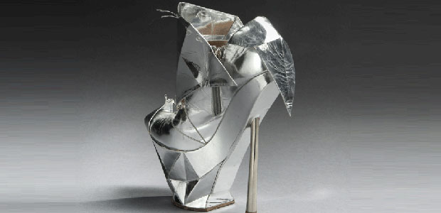 Lady Gaga's Emporio Armani Silver-colored Platform Shoe
