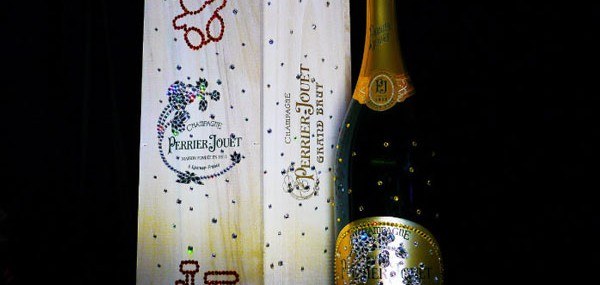 Swarovski-studded Perrier-Jouët Grand Brut Bottle by Cimon Art