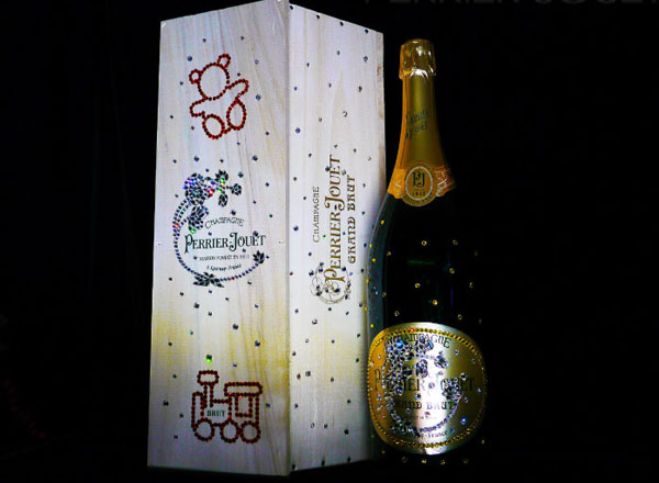 Swarovski-studded Perrier-Jout Grand Brut Bottle by Cimon Art
