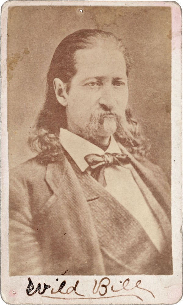 A rare period carte de visite portrait of 'Wild Bill' Hickok, expected to bring $8,000+
