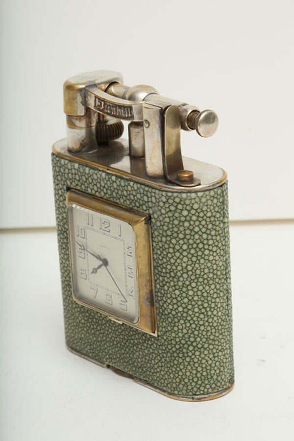 1930 Dunhill Giant Shagreen Table Lighter with Clock