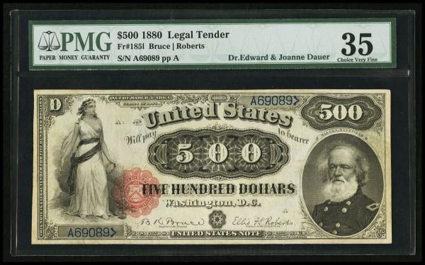 Fr. 185l $500 1880 Legal Tender