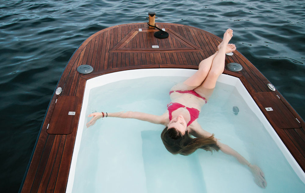 $42,000 Hot Tub Boat – Floating Jacuzzi with Stereo System