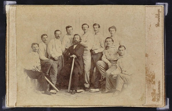 A Rare 1865 Baseball card Showing the Brooklyn Atlantics Baseball Team