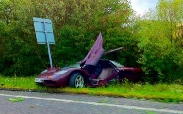 Rowan Atkinson crashed his McLaren F1 after spinning several times