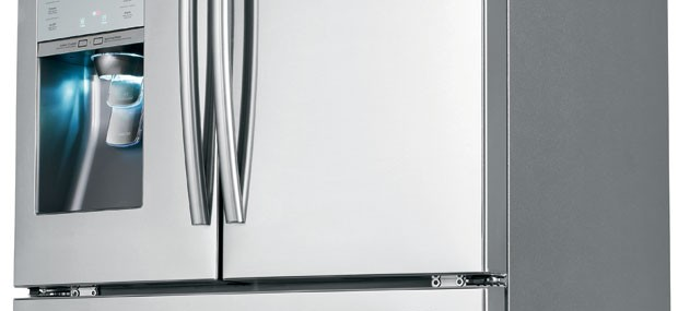 The Samsung RF31FMESBSR Four Door Refrigerator with Water Dispenser