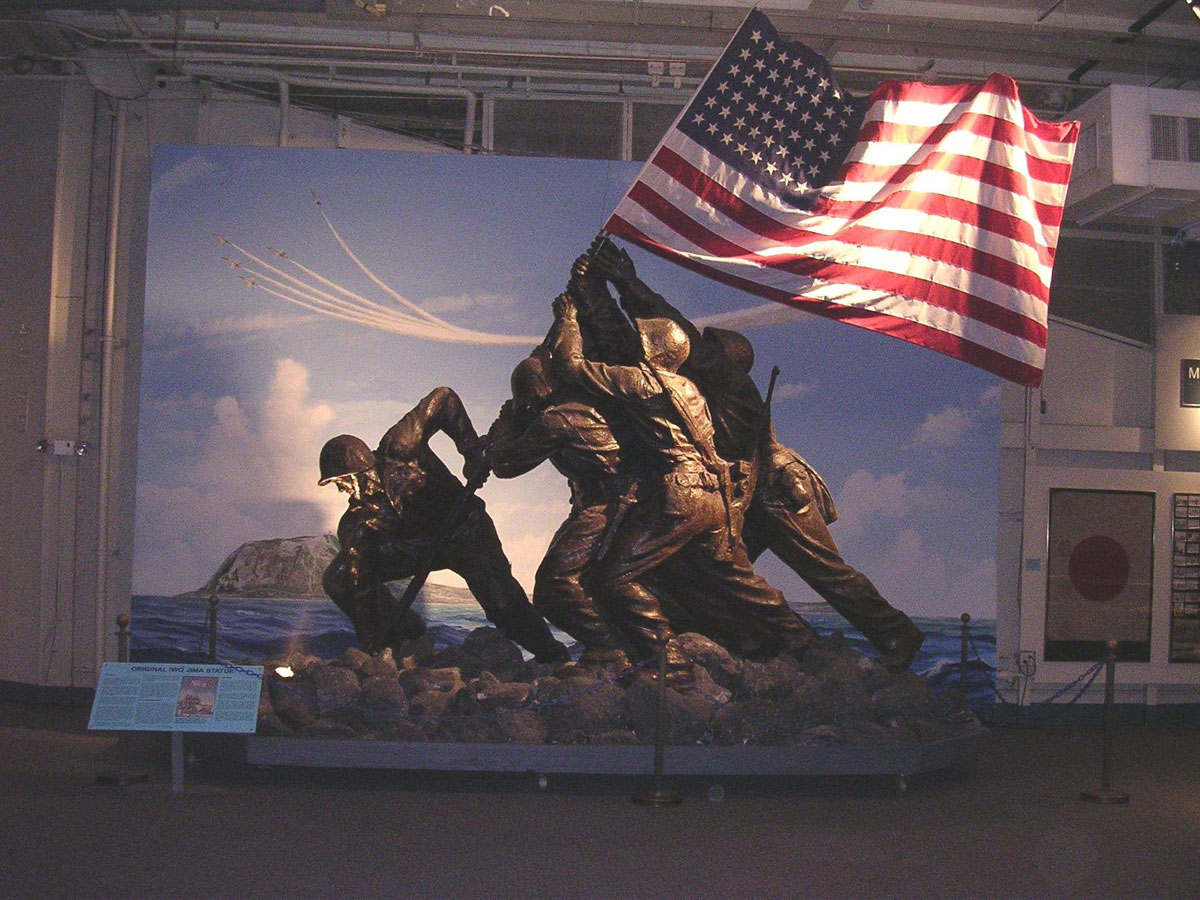 The original Iwo Jima monument, cast stone over a steel skeleton welded to a steel base