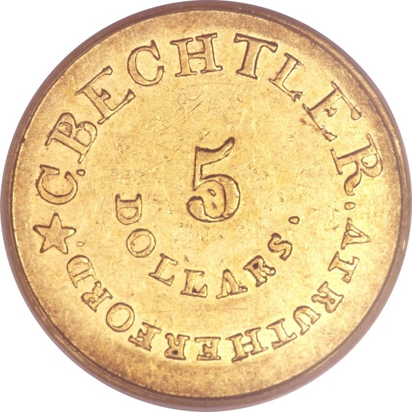 (1837-42) $5 C. Bechtler Five Dollar