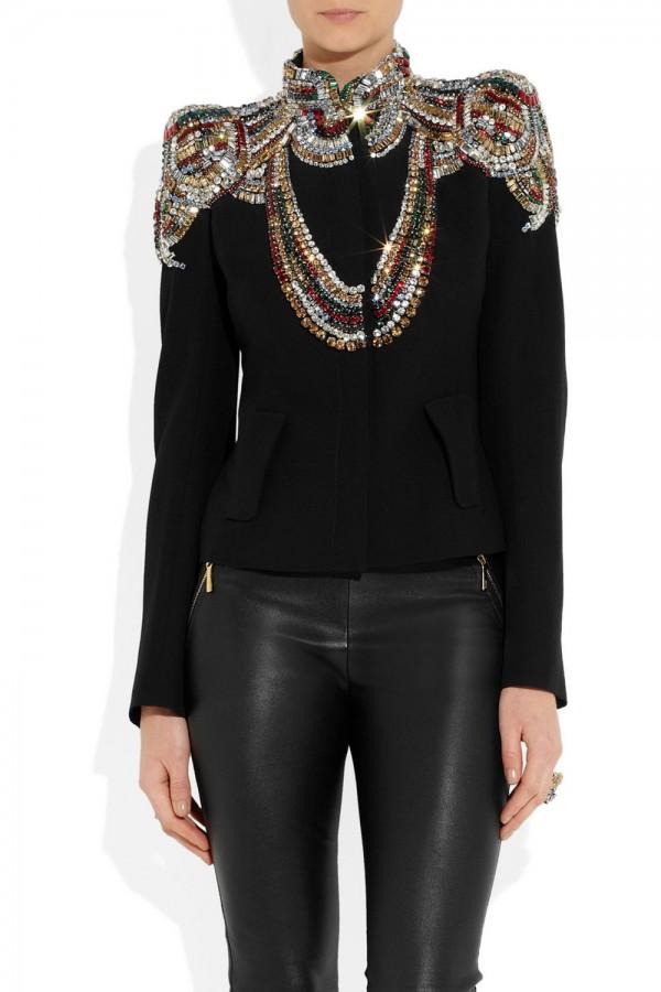 Alexander McQueen Swarovski Crystal-embellished Twill Jacket