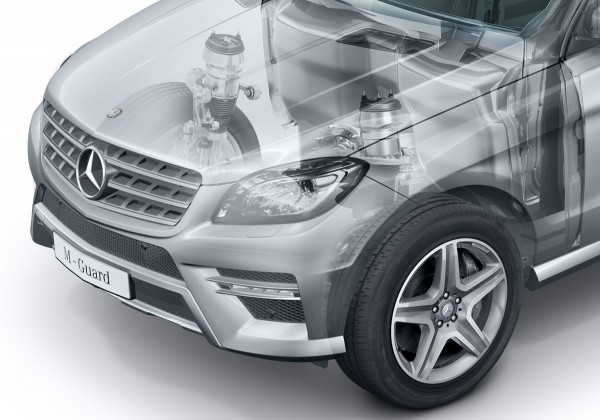 Mercedes-Benz announced that they will be offering Guard models of the ML350 BlueTEC and ML500, both of which comply with the requirements for protection level VR4.
