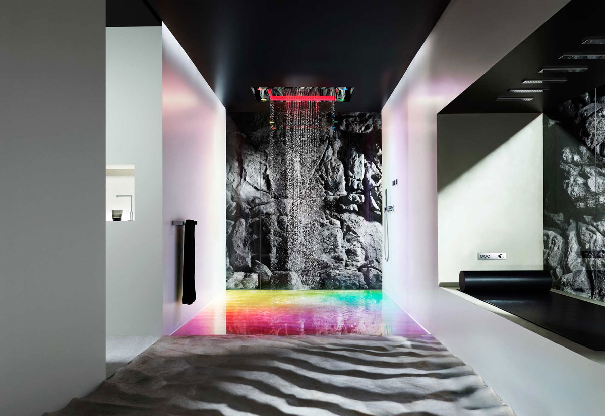 take a shower in style with sensory sky from dornbracht extravaganzi. Black Bedroom Furniture Sets. Home Design Ideas