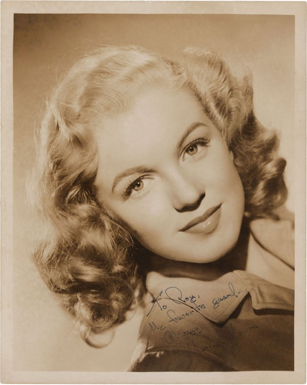 Headshot signed shortly after Norma Jean Baker changed her name to Marilyn Monroe
