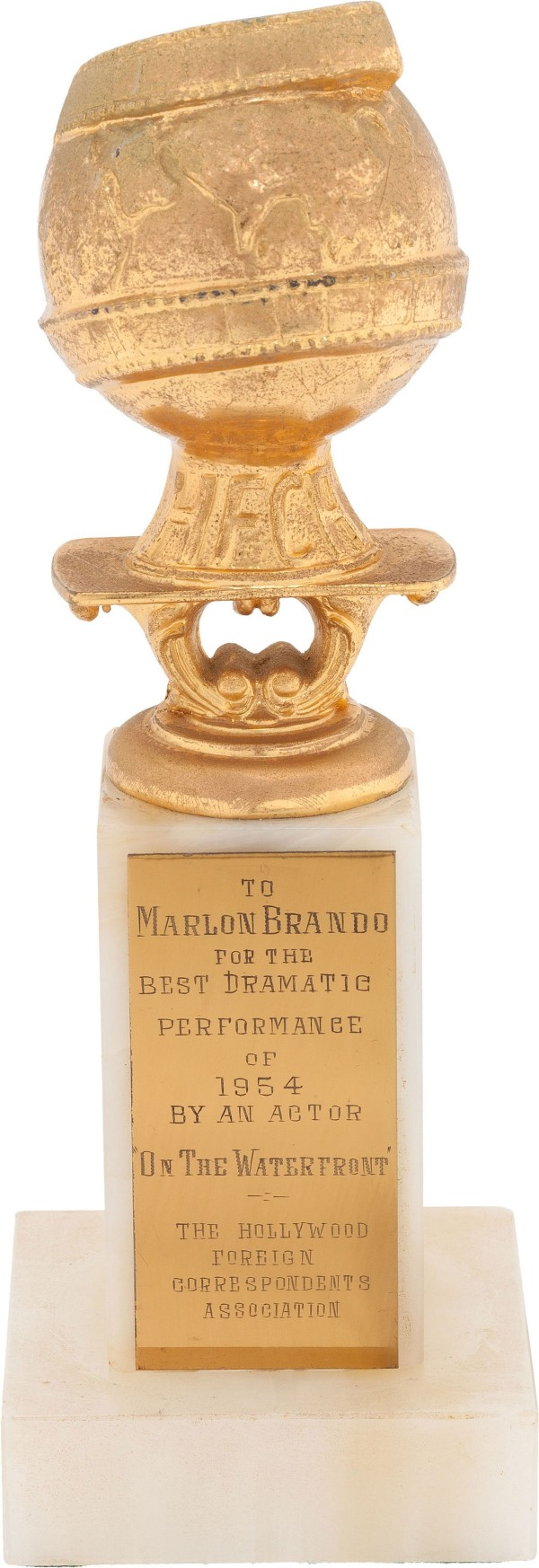 Marlon Brando's 1954 Best Actor' Golden Globe award for his performance in On the Waterfront
