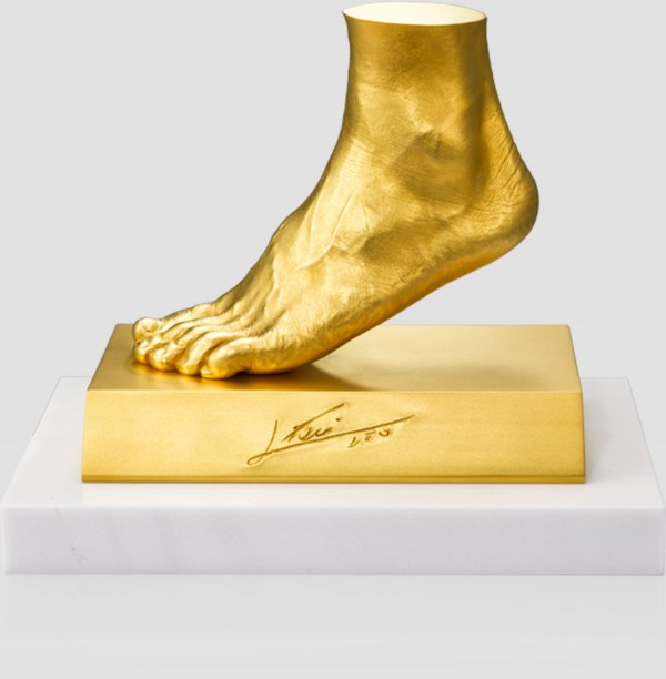 Messi's Left Foot Gold Sculpture by Ginza Tanaka