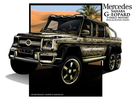 Dubbed the Mercedes-Benz G63 AMG Sahara G-eopard, the Dartz Mercedes 6×6 will come with a full list of updates that have been stiled by Dartz designer Marius Dumitrascu