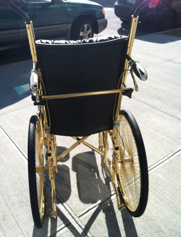Lady Gaga Recovering From Hip Surgery in 24K Gold Wheelchai