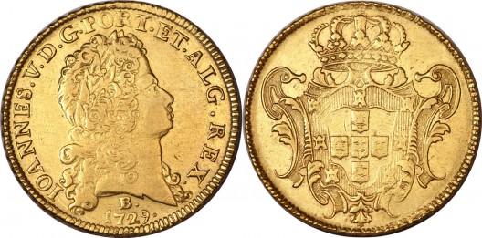 Joao V gold 12800 Reis 1729-B