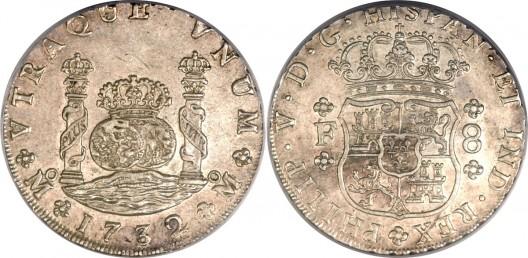Felipe V Pillar 8 Reales 1732 Mo-F