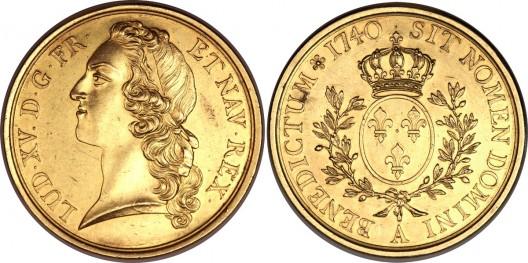 Louis XV Essai gold Ecu au bandeau 1740A