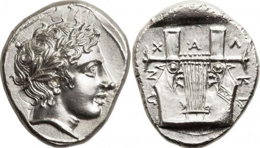 MACEDONIAN Chalcidian League. Ca. 390 BC. AR tetradrachm