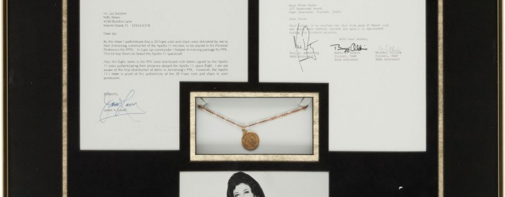 Apollo 11 Flown French 20 Franc Coin and Necklace in Framed Display with Crew-Signed Letter of Authenticity