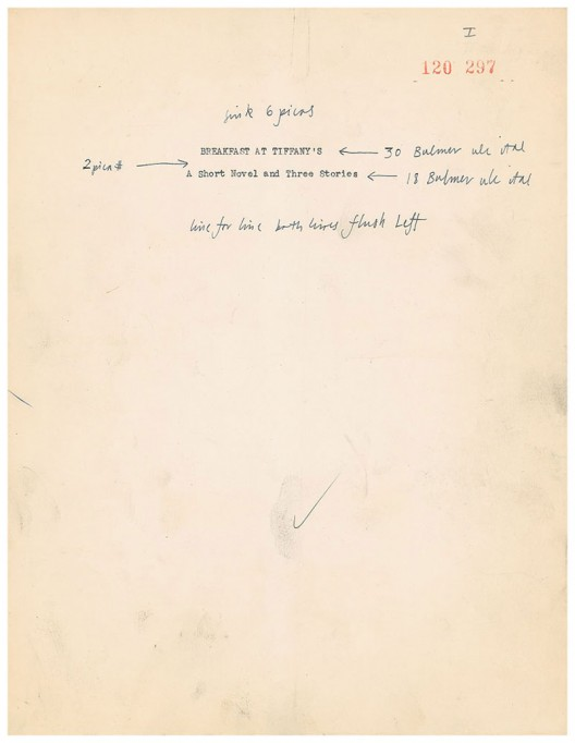 Breakfast at Tiffany's' Manuscript