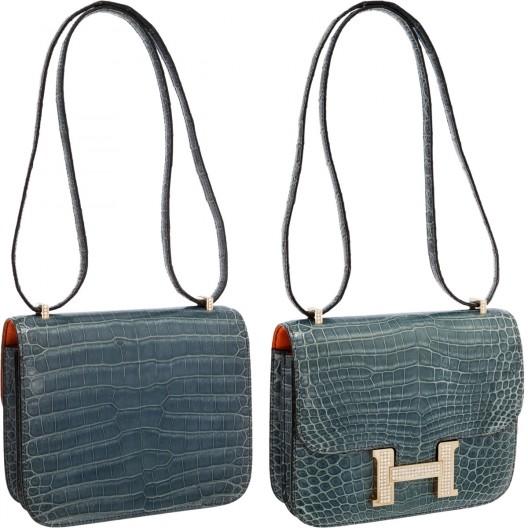 Hermes Extraordinary Collection 18cm Diamond Blue Jean Porosus Crocodile Double-Gusset Constance Bag
