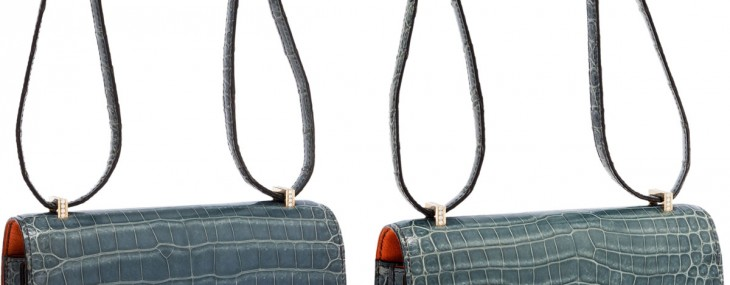 Hermes Extraordinary Collection 18cm Diamond Blue Jean Porosus Crocodile Double-Gusset Constance Bag