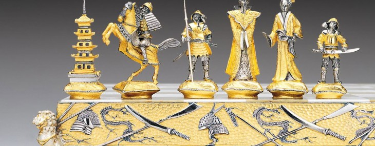 Chess Sets by Piero Benzoni in Gold and Silver