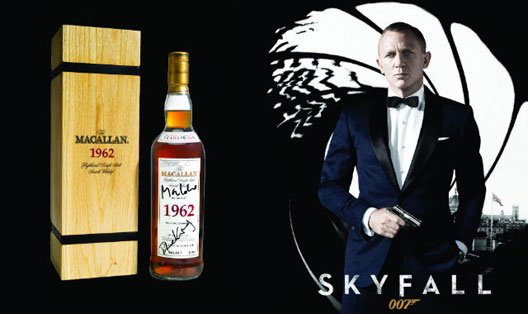To commemorate The Macallan's appearance in Skyfall, and the 50th anniversary of James Bond, a rare 1962 bottle will be auctioned by Sotheby's